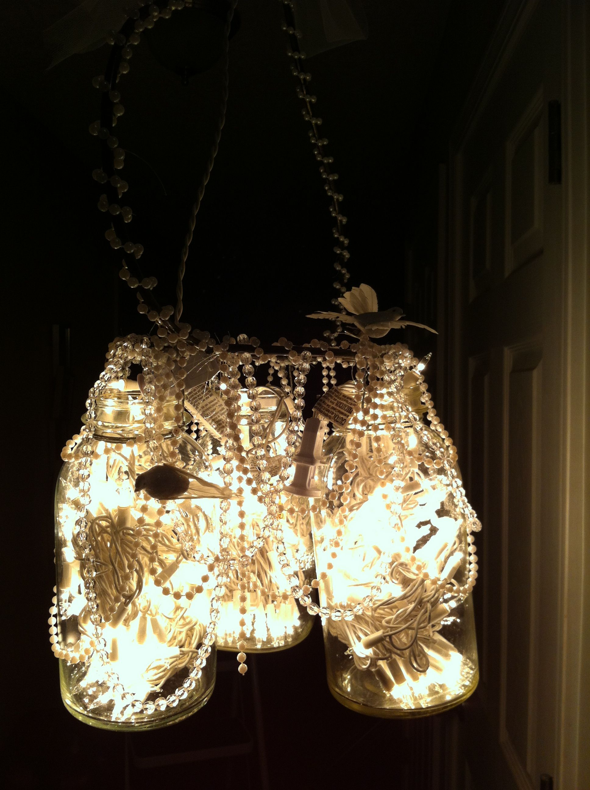 Country chic homemade chandelier Made from mason jars Christmas