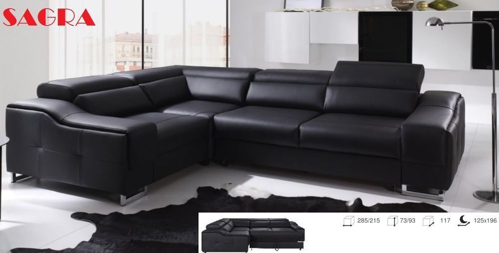 New Leather Corner Sofa La Coruna Black Brow White Fabric 2 3