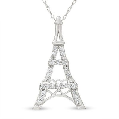 Love this so pretty eiffel tower pendant in 10k white gold with eiffel tower pendant in 10k white gold with diamond accents aloadofball Images