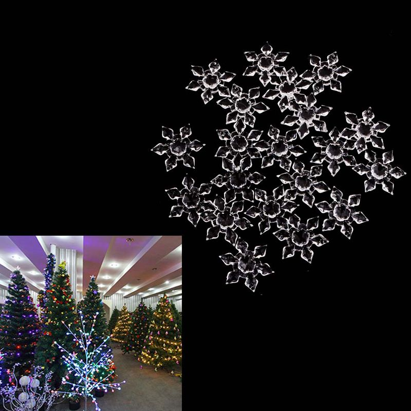 20pcs Weihnachtsbaum Acryl Kristall Schneeflocke Hängen Anhänger Dekor Ornamente