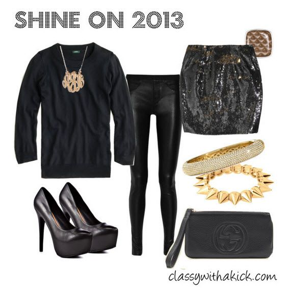a6bedb6ac311b New Years Eve Outfit Idea - leather, sequins, black and gold. NYE  inspiration.