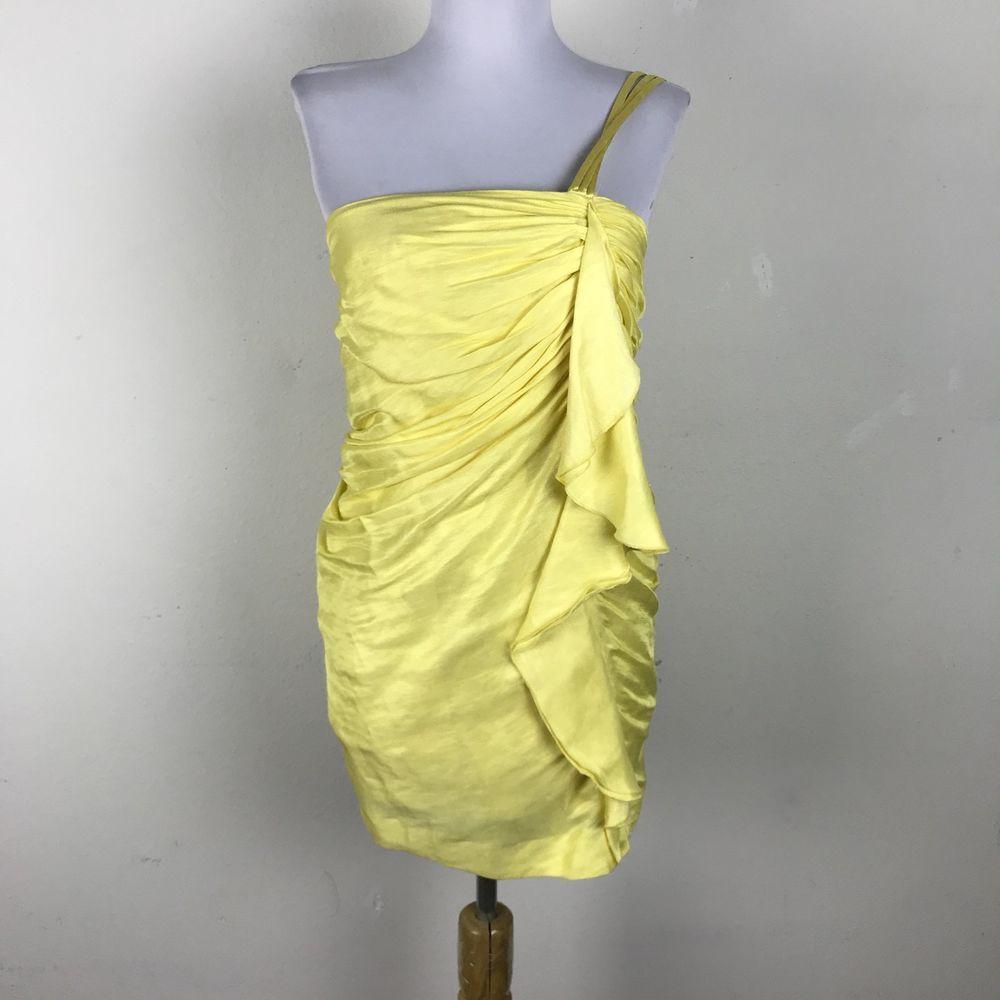 New bebe dress vanna size xs sunbeam yellow ruched linen silk mini