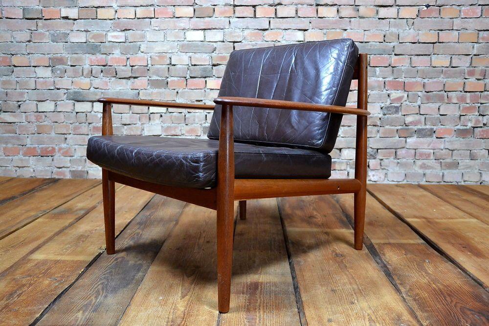 60er grete jalk teak leather easy chair leder lounge sessel france son 60s seating. Black Bedroom Furniture Sets. Home Design Ideas