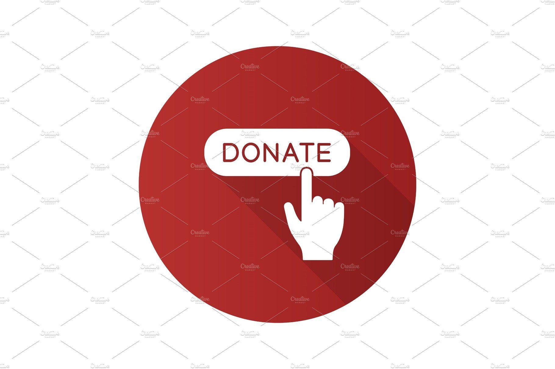 Donate button click icon , ad, designlongshadowflat