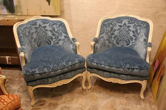 French Antique Armchair Pair Of Armchairs French Vintage Armchairs Cushion Louis  15th Style French Bergere Chairs