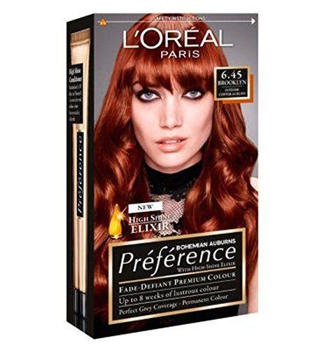 L Oreal Preference 6 45 Brooklyn Copper Auburn L Oreal Paris Cabelo Ruivo Cores De Cabelo Tinta De Cabelo