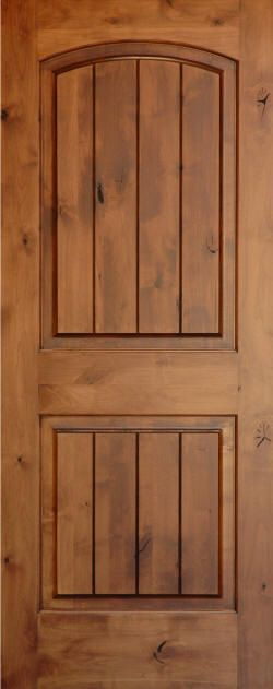 Knotty alder knotty alder arch 2 panel doors with v for Knotty alder wood doors