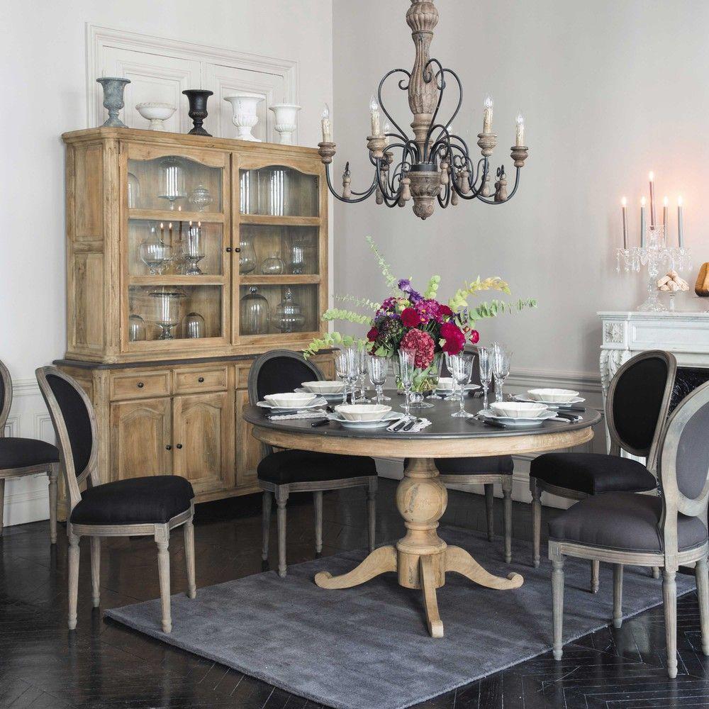chaise m daillon en coton et ch ne massif grise louis maisons du monde chaises pinterest. Black Bedroom Furniture Sets. Home Design Ideas