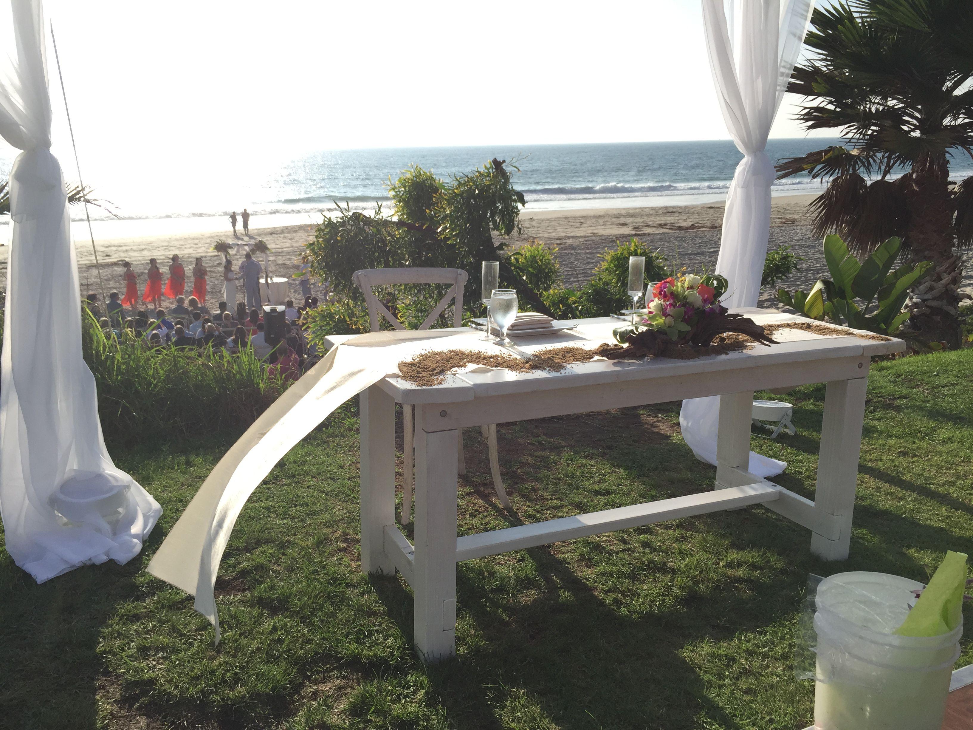 Salt Creek Beach whitewash rustic wedding Sweetheart table