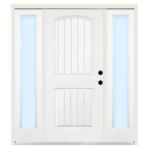 Steves Sons Premium 2 Panel Plank Primed White Steel Entry Door With 12 In Clear Sidelites Steel Entry Doors Entry Doors Plank Door