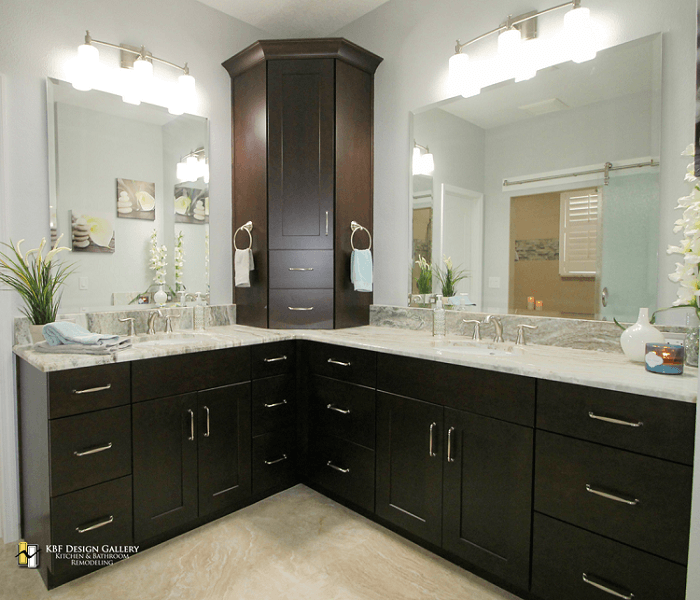 L Shaped Master Bathroom Layout: Double Master Vanity With Tower And Fantasy Brown Marble