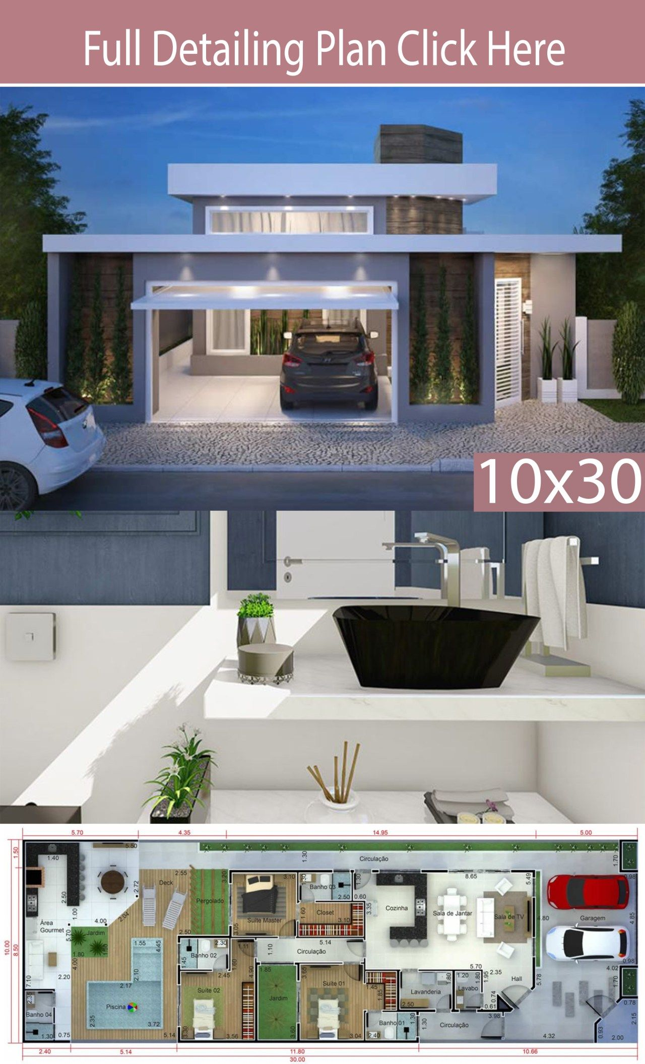 Home Design 10x30m With 3 Bedrooms Home Ideas Bungalow House Design Small House Design Plans House Outside Design