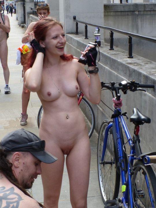 Naked ladies riding bicycles speaking, you