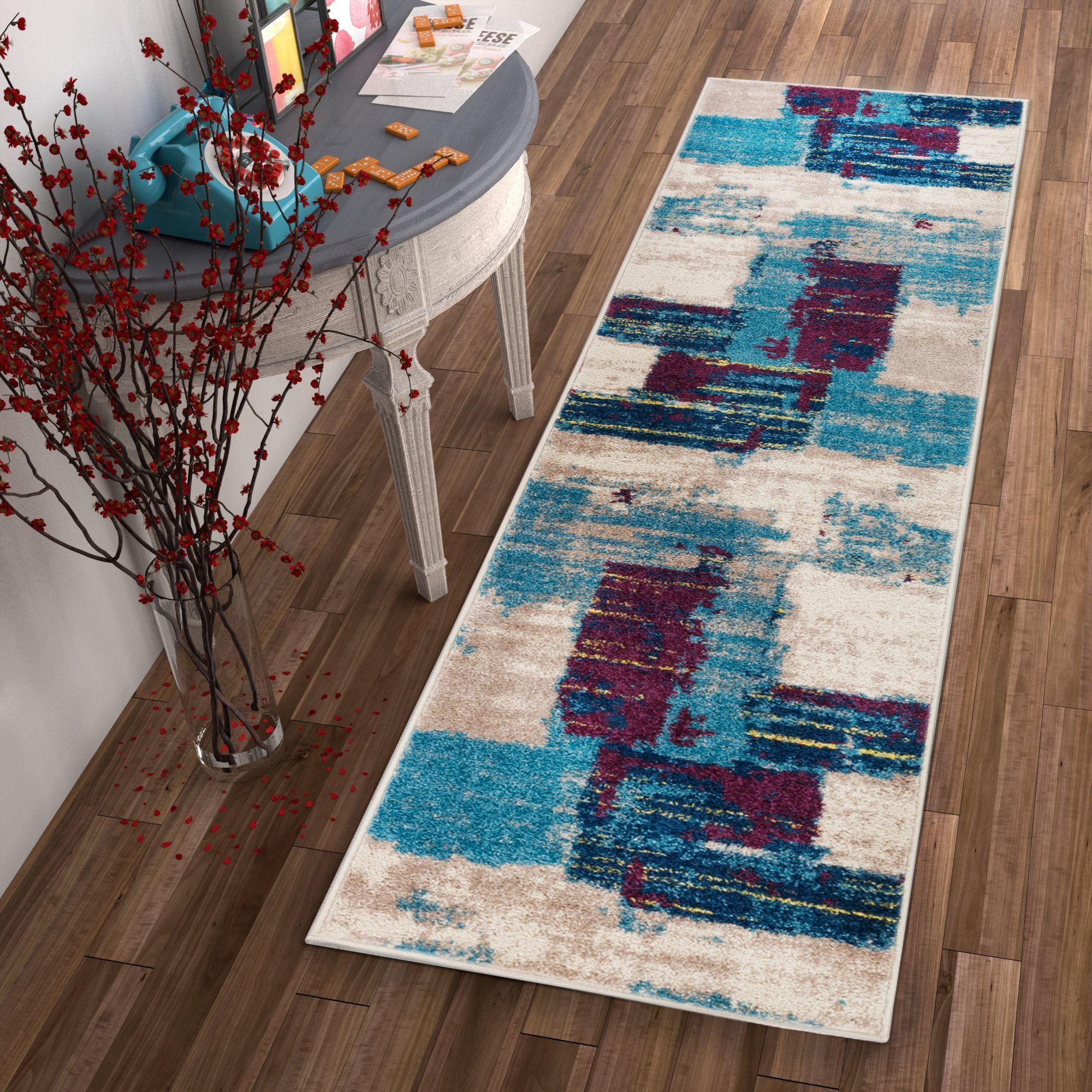 Well Woven Melbourne Modern Abstract Red Beige Runner Rug