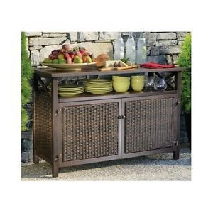 Outdoor Buffet Wicker Counter Sideboard Console Brown Serving Cabinet  Storage | EBay