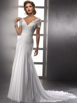 Sheath/Column V-neck Court Train Short Sleeves Chiffon Ruffles Wedding Dresses