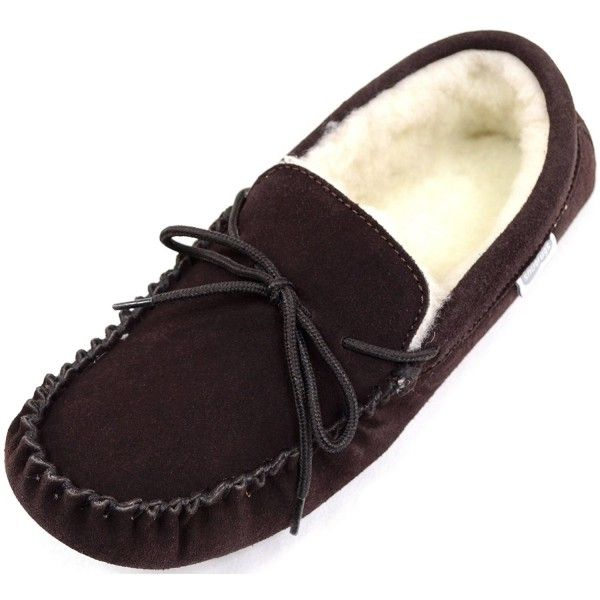 eae82e1be29 Men s Suede Sheepskin Moccasin Slippers With Soft Sole - Brown ...