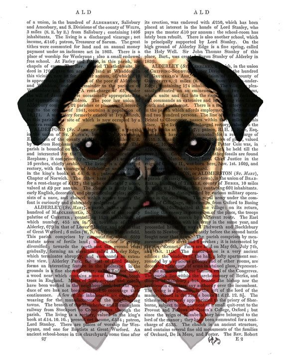 Pug Dog with Bow Tie Acrylic Art Original Painting Print Mixed Media wall  art wall decor Wall Hanging 9e9fe739ca10