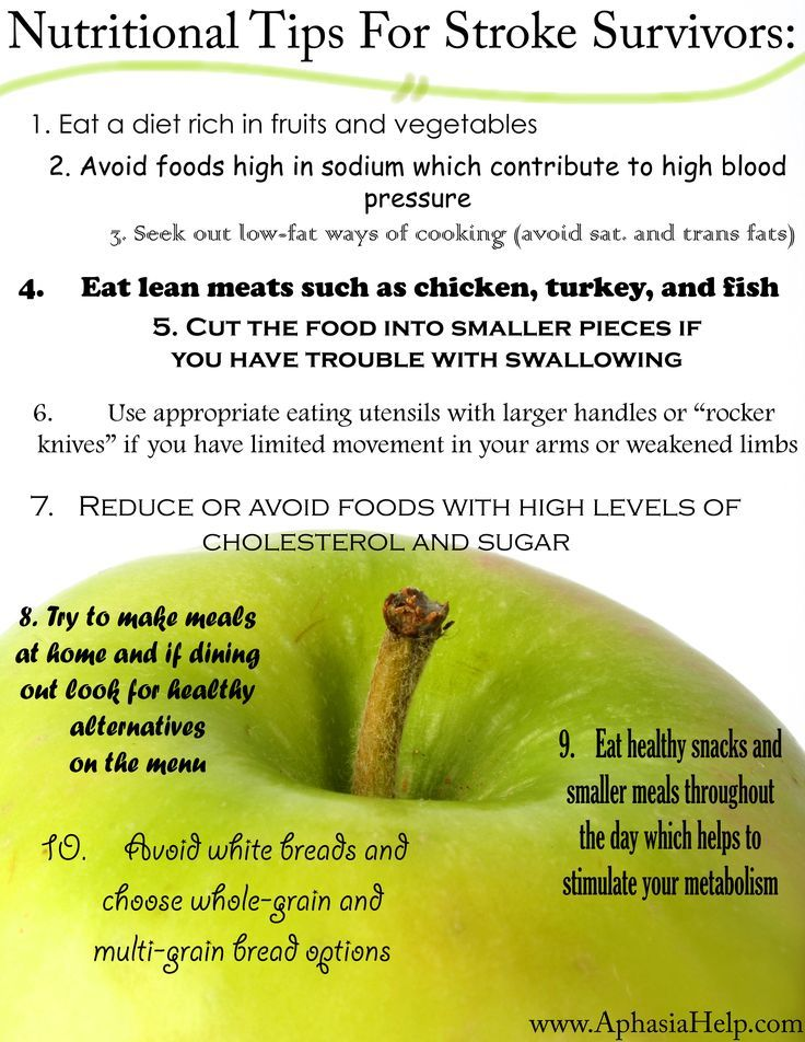 Nutritional tips for stroke survivors | Stroke Recovery | Pinterest
