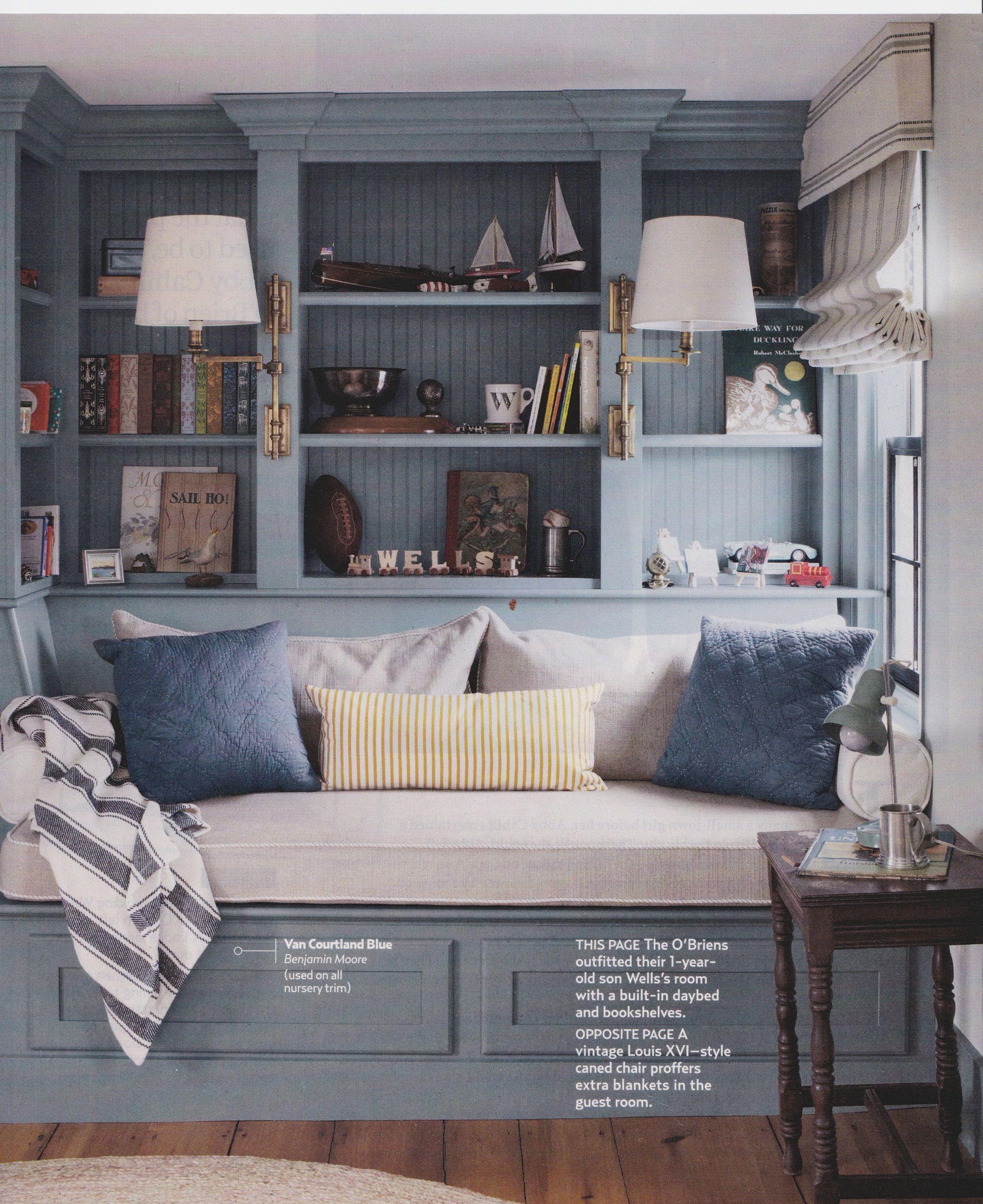 Built In Day Bed And Bookshelves Benjamin Moore Van Courtland