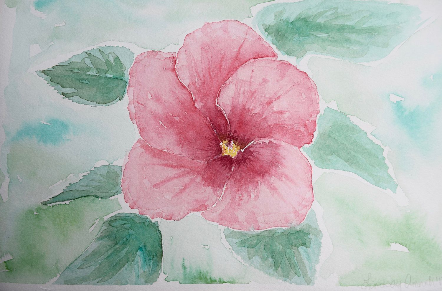 Watercolor Flowers Painting Hibiscus Flower Floral Watercolor