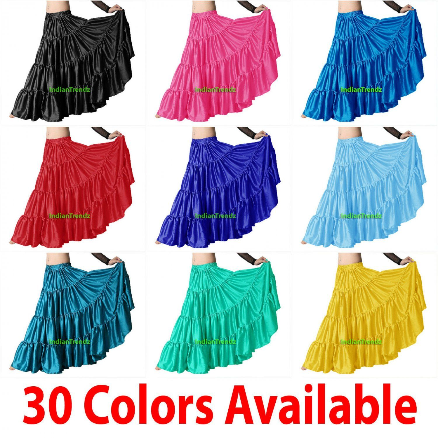 Indian Trendy Womens Satin 6 Yard 4 Tiered Gypsy Belly Dance Skirt Flamenco