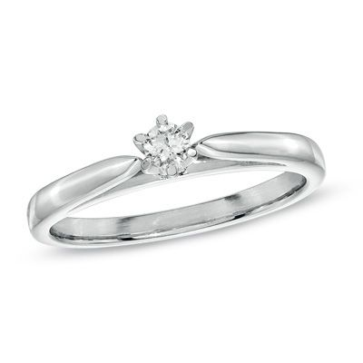 Diamond Accent Solitaire Promise Ring in Platinaire       Zales     Diamond Accent Solitaire Promise Ring in Platinaire       Zales   152 15