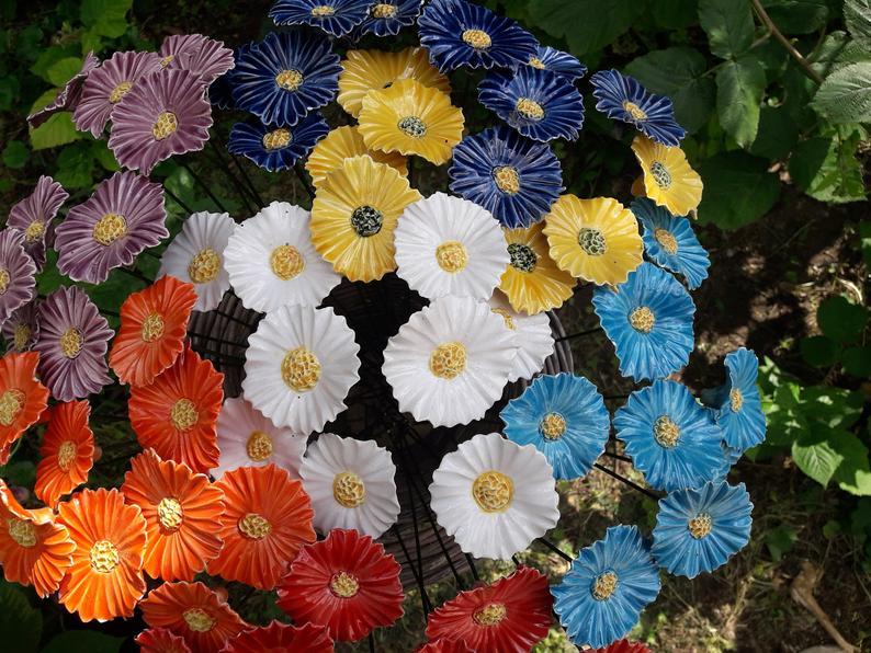 Yard art ceramic flower decoration-Garden Yard Art deco | Etsy