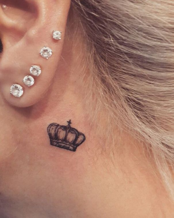 Crown Tattoo Behind Ear Crown Tattoos For Women Trendy Tattoos Neck Tattoo
