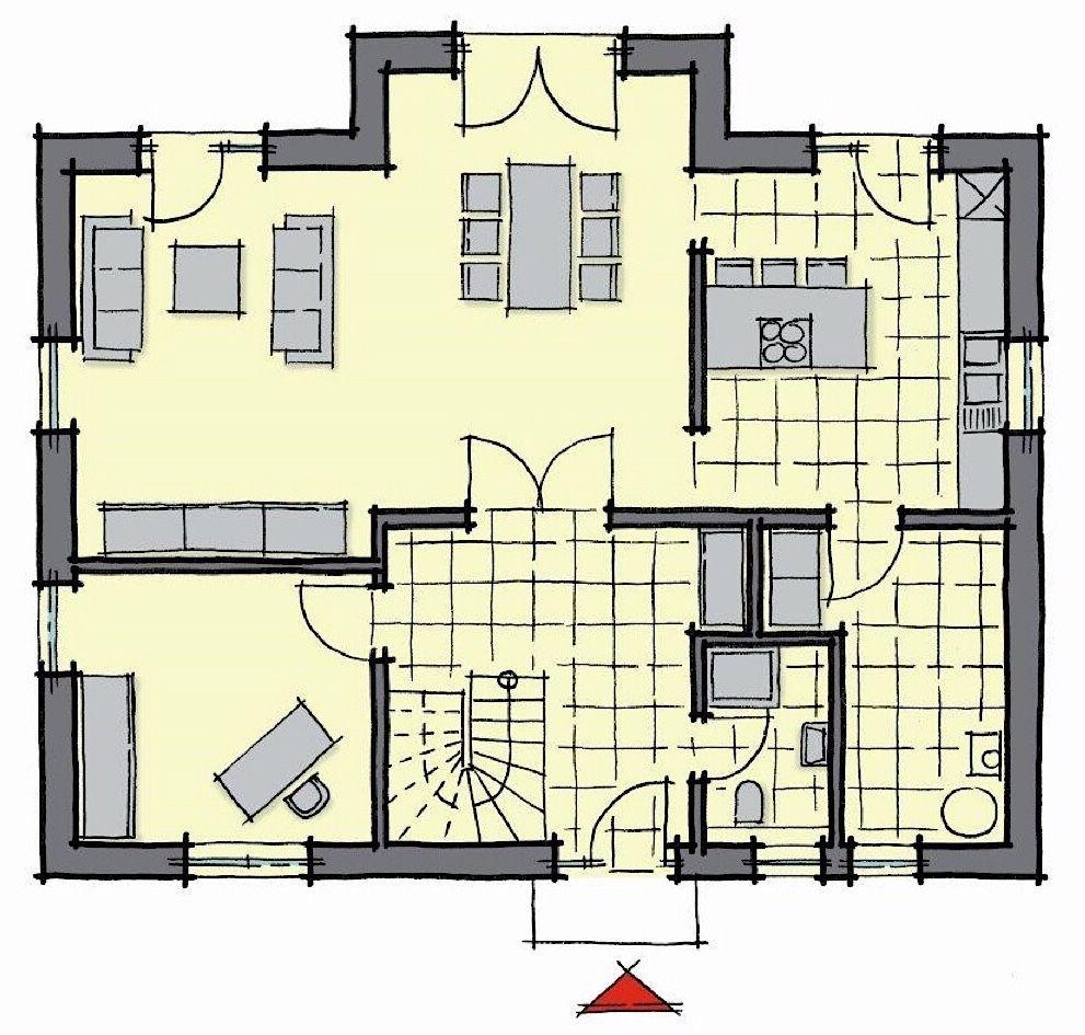 Fertighaus Grundriss Erdgeschoss mit Erker, 6 Zimmer, 170