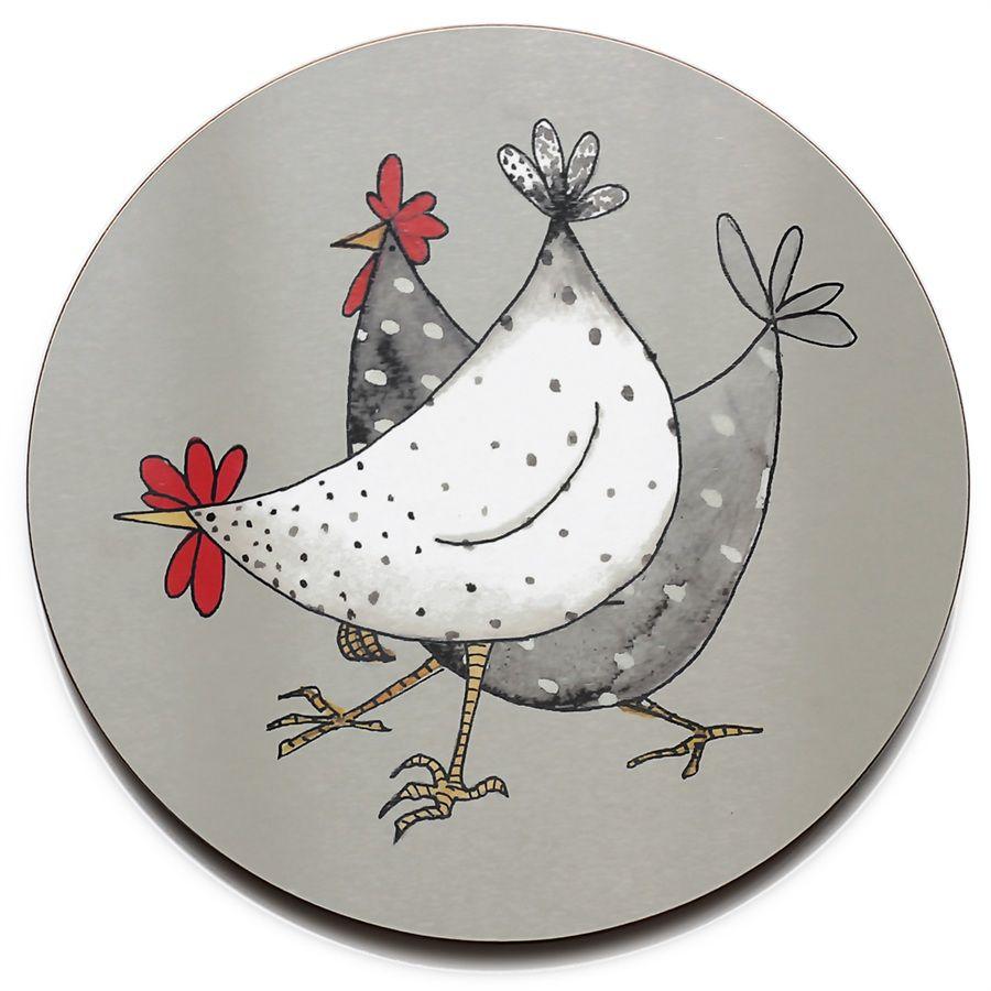 Wacky chicken trivet art doodle doo pottery pottery - Dessin poule rigolote ...