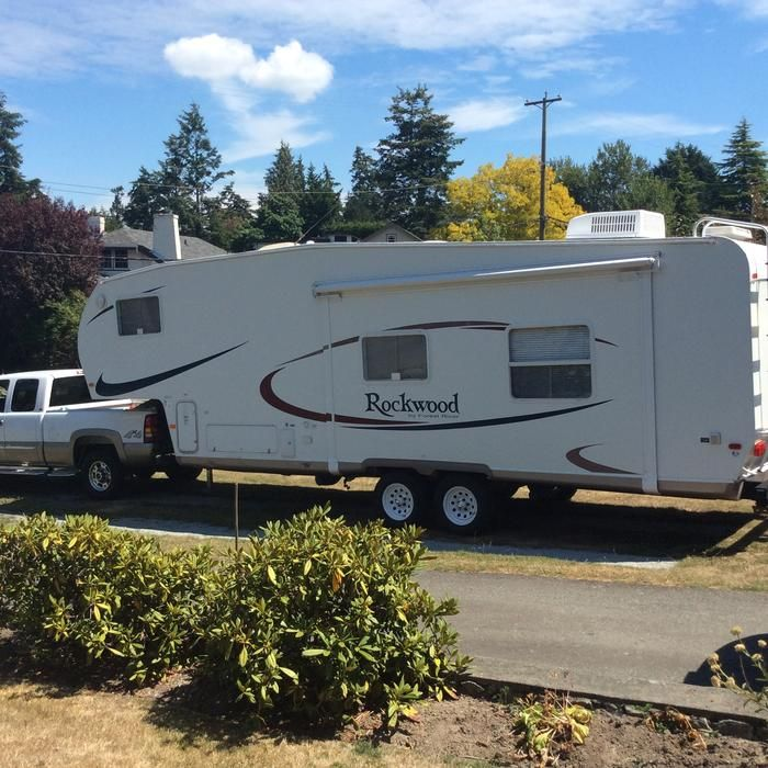 28 Rockwood 5th Wheel Trailer With An Awning Over The 12 Slide