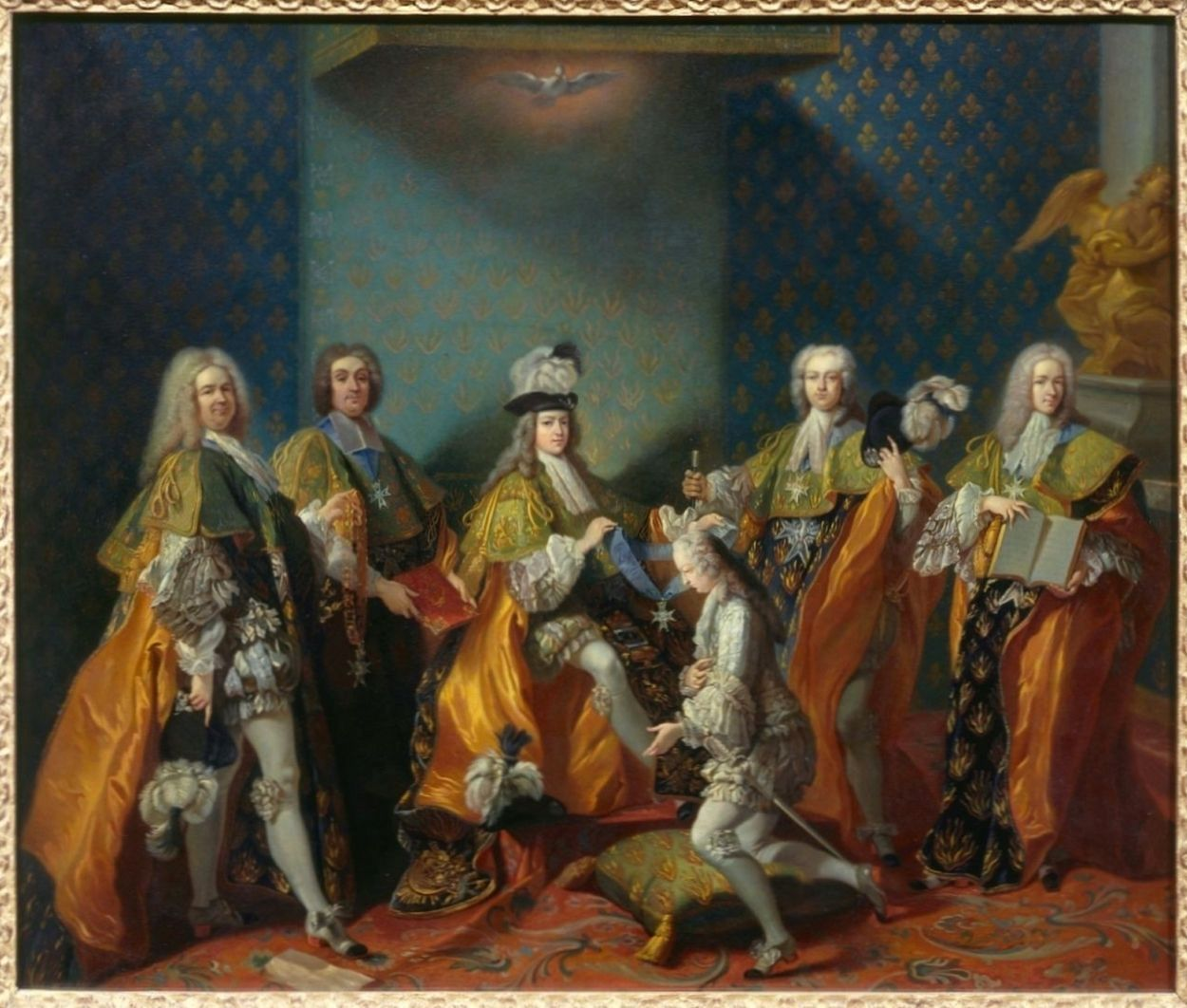 Louis XV, King of France, aged 14, receiving the Order of the Holy Spirit his cousin Louis de Bourbon-Condé, Count of Clermont, June 7, 1724, by Jean-Baptiste Van Loo