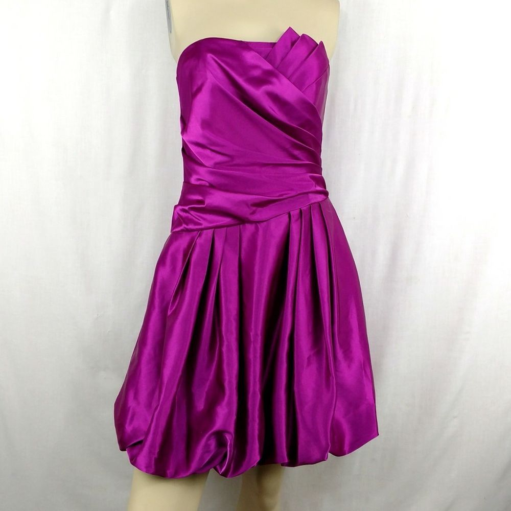 JESSICA McCLINTOCK Strapless Magenta Formal Holiday Cocktail Dress ...