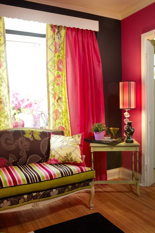 Custom made decorative pillows, antique settee and drapes in Designers Guild fabrics from Jane Hall. Cushions and and Designers Guild upholstery and drapery fabric, wallpaper can be purchased through www.janehalldesig...