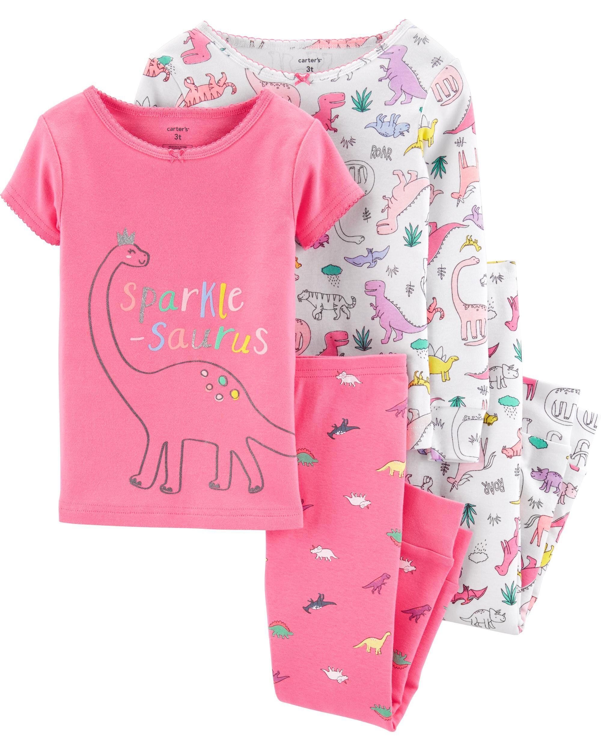 Girls 4-Piece Snug-Fit Cotton Pajama Set Sleepwear