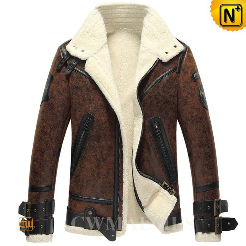 "CWMALLS® Custom Sheepskin Bomber Jacket CW861275 - Custom made sheepskin bomber jacket for men, crafted from premium sheepskin shearling material in a vintage brown color, this classic sheepskin bomber jacket is detailed with leather straps on collar, leather strap on hem, embr patch on arm, and zipper pockets, this sheepskin bomber jacket can also be customized according to your actual measurements, a perfect choice for cold weather even the ""Ice Age"" hits."