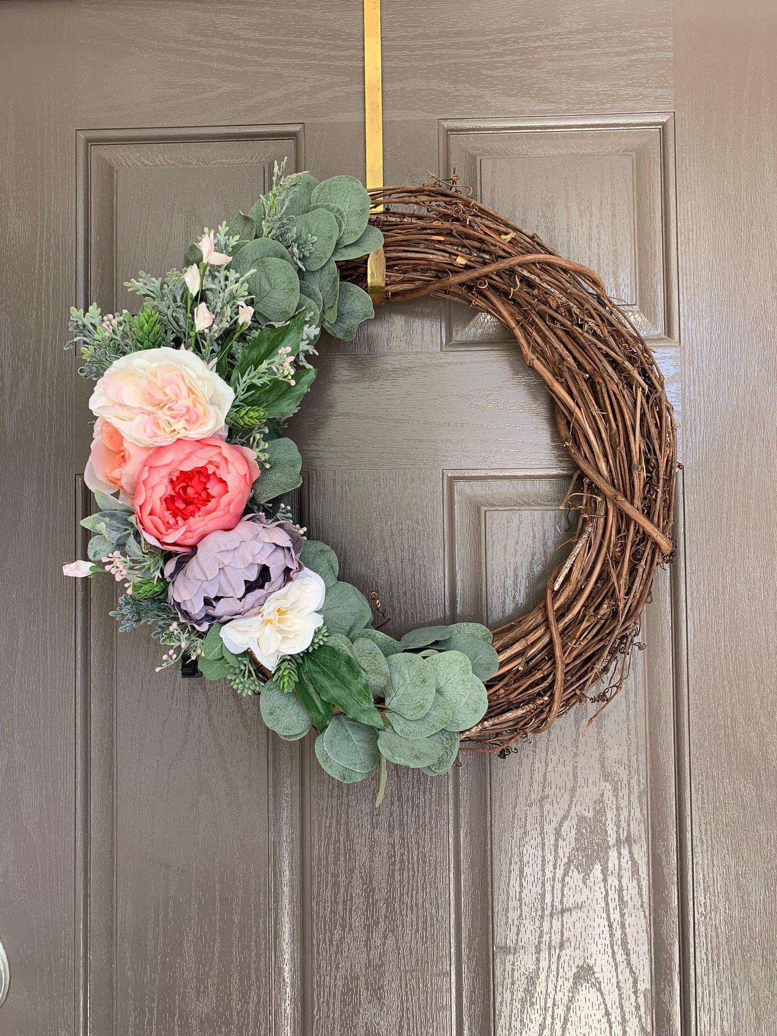 Photo of Peony Wreath, Peony Spring Wreath, Spring Wreath, Eucalyptus Wreath, Dusty Miller Wreath, Peony Wreath Front Door, Summer Wreath
