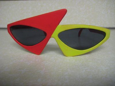 bea56fd95cb Vintage New Wave 80 s Neon Geometric Sunglasses