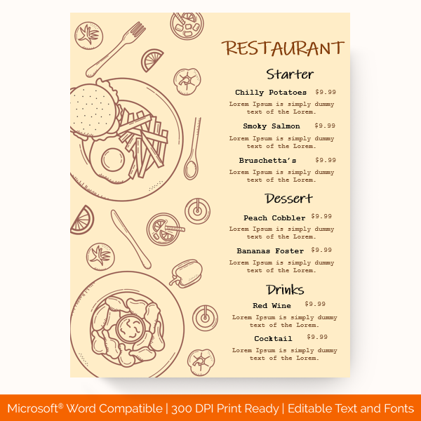 Dinner Menu Template Peach 1968 Doc Formats Menu Template Menu Card Template Dinner Menu