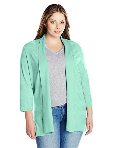 Leo & Nicole Women's Plus-Size 3/4 Sleeve Solid Cardigan-$29.97
