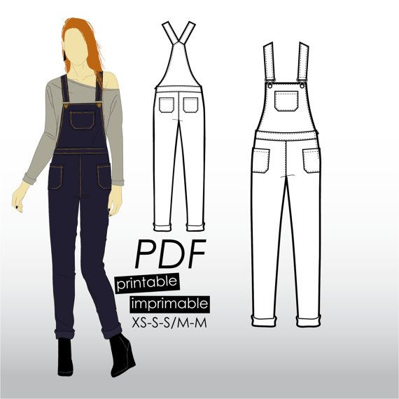 XS-M Jeans overall with pockets and tapered von KommatiaPatterns ...