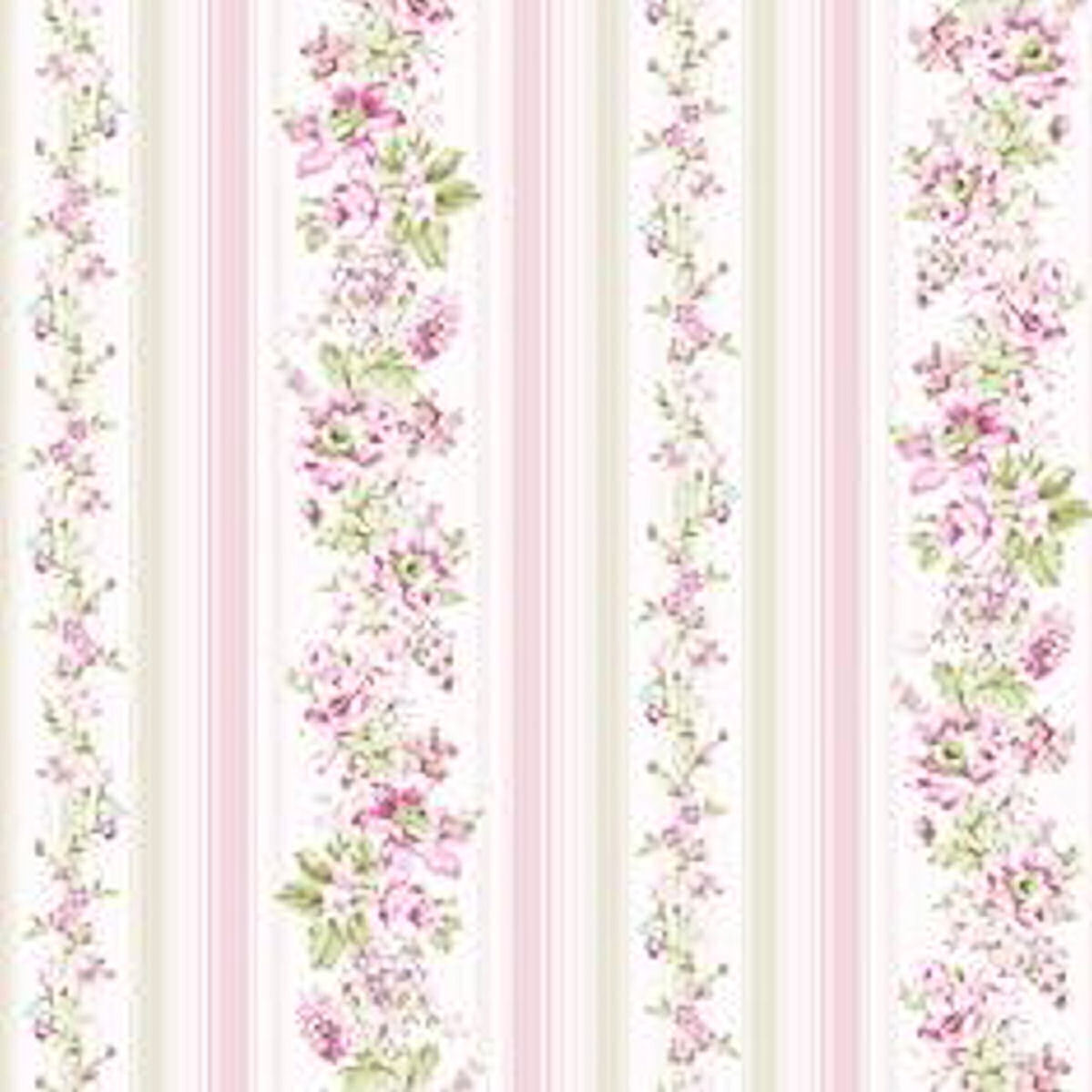 Dollhouse Miniature Pink Floral Computer Printed Wallpaper