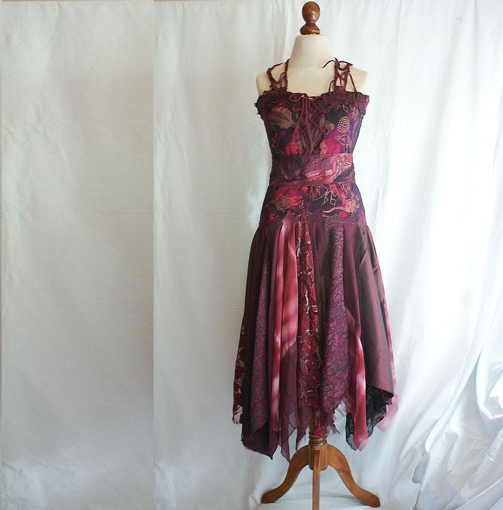 Romantic Tattered Dress In Shades Of Wine Upcycled Woman's