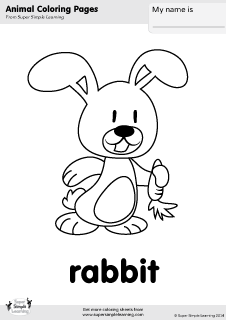 Free rabbit coloring page from Super Simple Learning. Tons