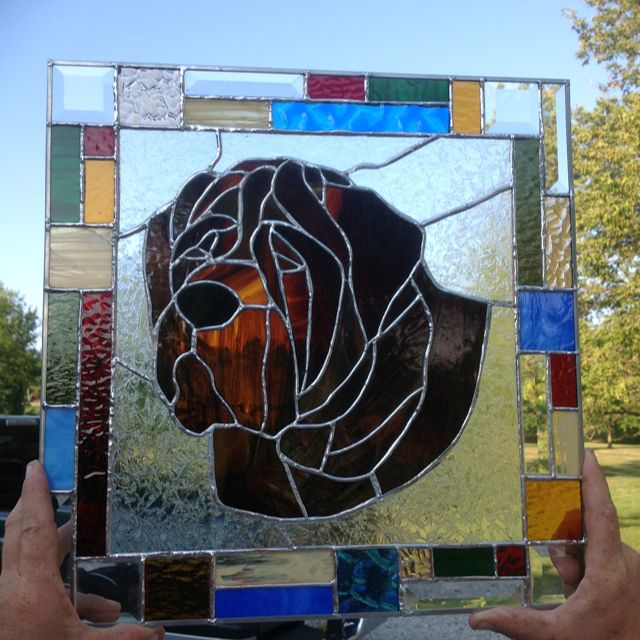 English Mastiff stained glass donated to the 2012 Northeast