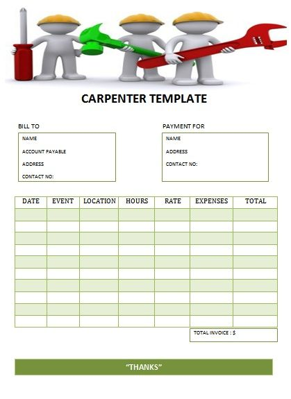 CARPENTER TEMPLATE-2 Carpenter Invoice Templates Pinterest - samples of invoices for payment
