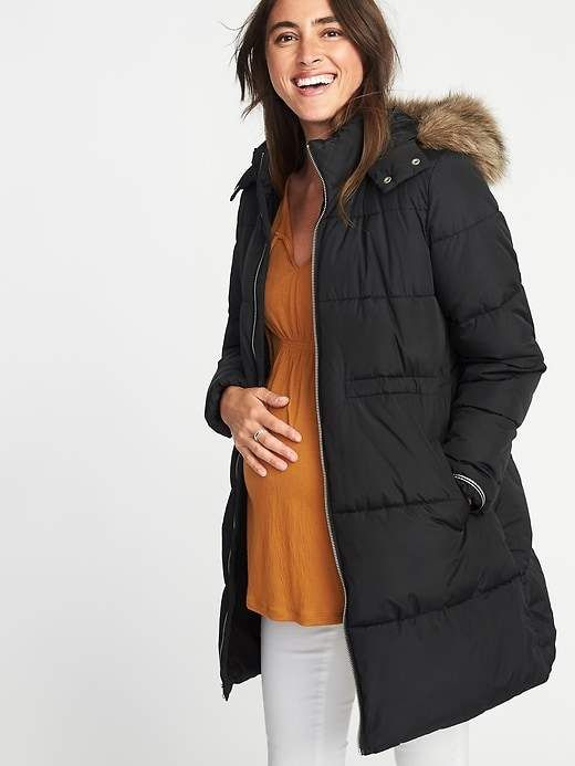 84903b91b0ada Maternity Long-Line Hooded Frost-Free Puffer Jacket | Products ...