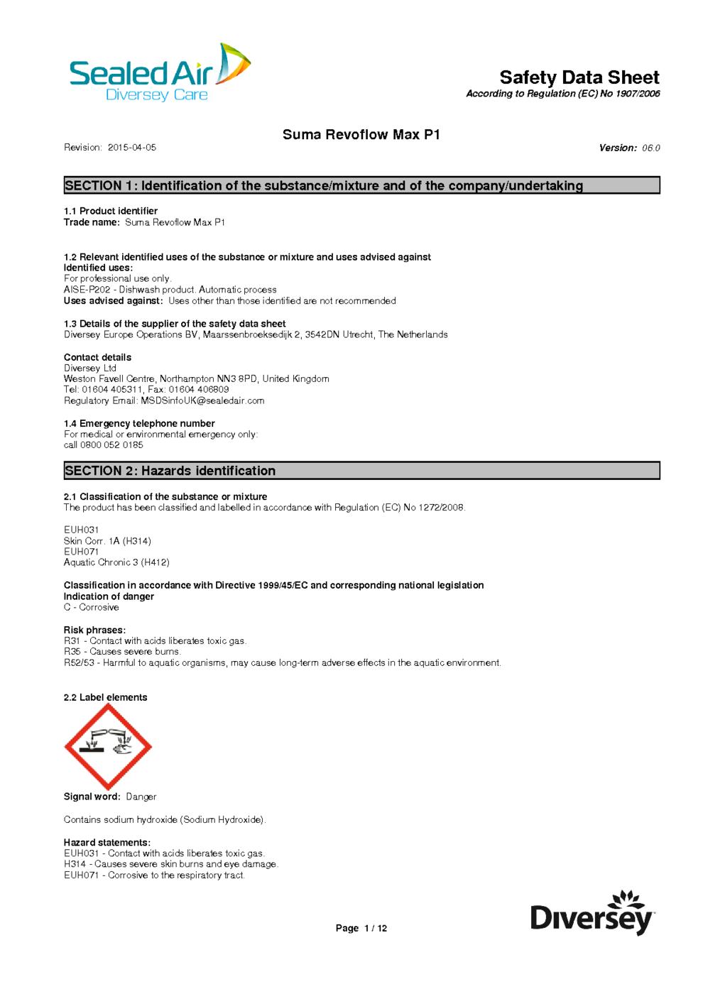 Suma Revoflow Max P1 Safety Data Sheet Download () MSDS - GHS/CLP ...