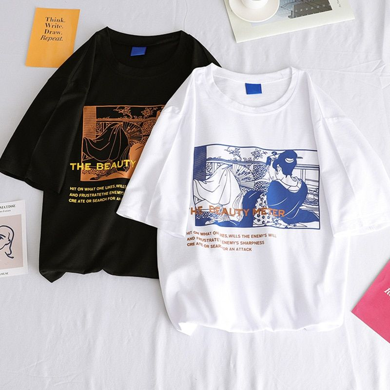 Collection Printed Short Sleeve T-shirt Streetwear Tshirts O-neck Casual Top Tee